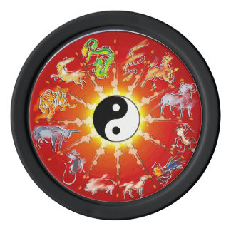 Chinese Zodiac Animal  White Outlines Poker Chips