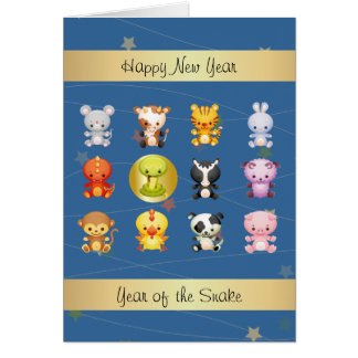 Chinese Zodiac Animals Year of the Snake Card