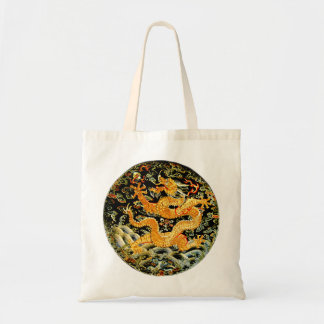 Chinese zodiac antique embroidered golden dragon budget tote bag