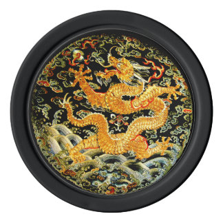 Chinese zodiac antique embroidered golden dragon poker chips