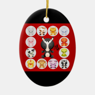 Chinese Zodiac Born in the Year of the Horse Ceramic Ornament
