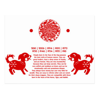 CHINESE ZODIAC DOG PAPERCUT ILLUSTRATION POSTCARD
