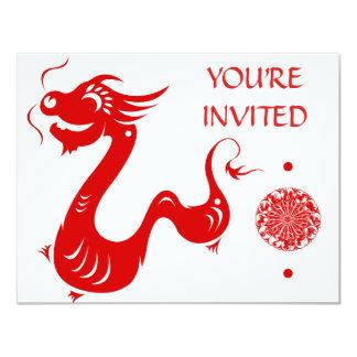 "CHINESE ZODIAC DRAGON PAPERCUT ILLUSTRATION 4.25"" X 5.5"" INVITATION CARD"
