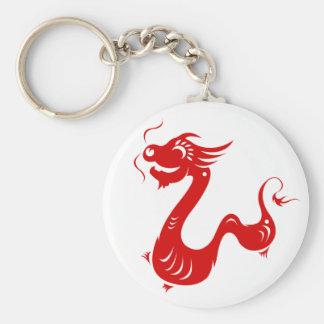CHINESE ZODIAC DRAGON PAPERCUT ILLUSTRATION BASIC ROUND BUTTON KEYCHAIN