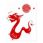 CHINESE ZODIAC DRAGON PAPERCUT ILLUSTRATION POSTCARD