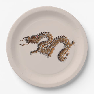Chinese Zodiac Gingerbread Dragon 9 Inch Paper Plate
