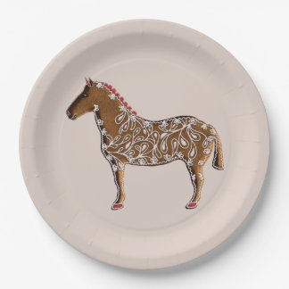 Chinese Zodiac Gingerbread Horse 9 Inch Paper Plate