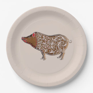 Chinese Zodiac Gingerbread Pig 9 Inch Paper Plate