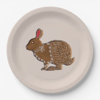 Chinese Zodiac Gingerbread Rabbit 9 Inch Paper Plate