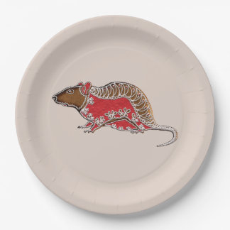 Chinese Zodiac Gingerbread Rat Paper Plate