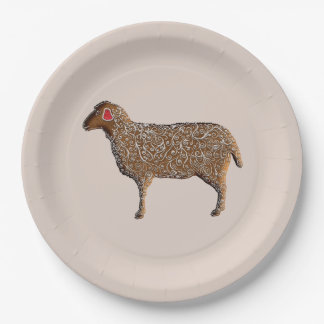 Chinese Zodiac Gingerbread Sheep 9 Inch Paper Plate