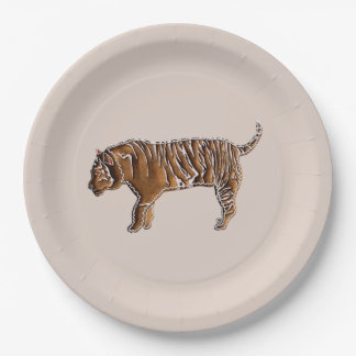 Chinese Zodiac Gingerbread Tiger 9 Inch Paper Plate