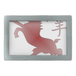 chinese zodiac goat rectangular belt buckle