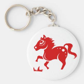 CHINESE ZODIAC HORSE PAPERCUT ILLUSTRATION BASIC ROUND BUTTON KEYCHAIN