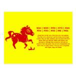 CHINESE ZODIAC HORSE PAPERCUT ILLUSTRATION POSTCARD
