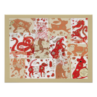 Chinese Zodiac Mixed Media Collage Poster