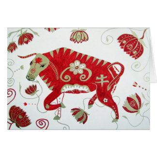Chinese Zodiac Ox Greeting Card