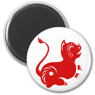 CHINESE ZODIAC PAPERCUT TIGER ILLUSTRATED 2 INCH ROUND MAGNET