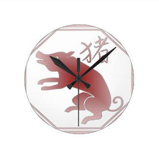 chinese zodiac pig wallclock