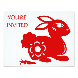CHINESE ZODIAC RABBIT PAPERCUT ILLUSTRATION CARD
