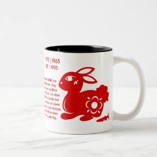 CHINESE ZODIAC RABBIT PAPERCUT ILLUSTRATION Two-Tone COFFEE MUG