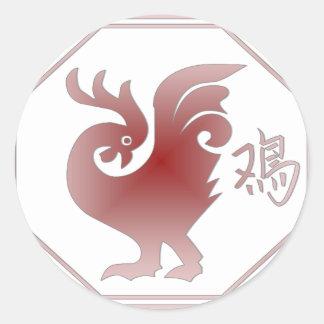 Chinese Zodiac Rooster Round Sticker
