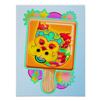 Chinese Zodiac Sign Dragon as Ice Cream Pop - Poster