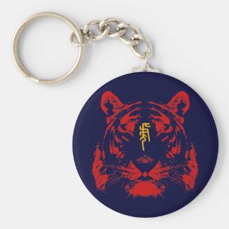 Chinese Zodiac Tiger in Kanji Basic Round Button Keychain