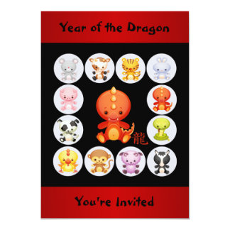 "Chinese Zodiac Year of the Dragon Birthday Party 5"" X 7"" Invitation Card"