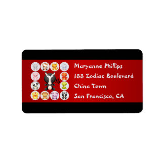 Chinese Zodiac Year of the Horse Red and Black Personalized Address Labels