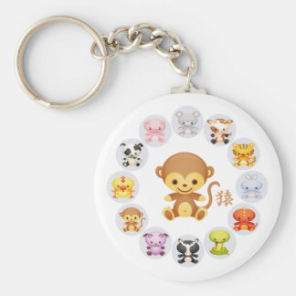 Chinese Zodiac Year of the Monkey Round Keychain