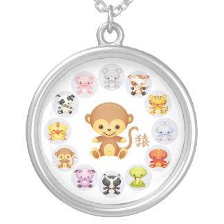 Chinese Zodiac Year of the Monkey Round Round Pendant Necklace
