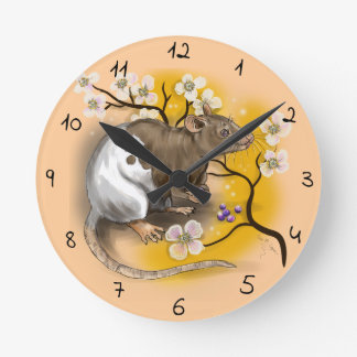 Chinese Zodiac Year of the Rat Round Clock