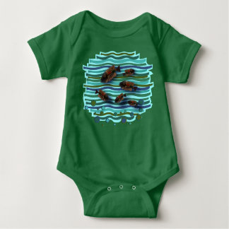 CHINODA 10 FISH IN A WAVE BABY BODYSUIT