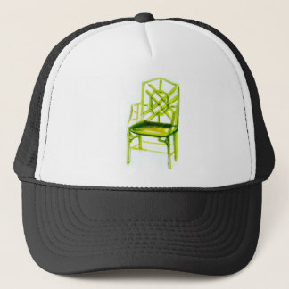 chinoiserie chair for place card trucker hat