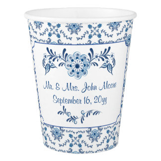 Chinoiserie Delft Blue Pattern•Custom Paper Cup