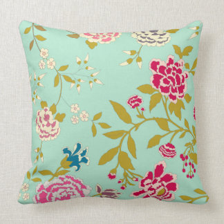Chinoiserie Floral Design Jade Green Throw Pillow