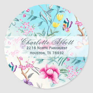 Chinoiserie Floral Pattern Address Envelope Seal