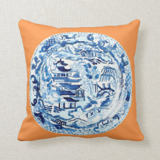 CHINOISERIE PLATE ON TANGERINE THROW PILLOW