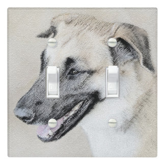Chinook (Dropped Ears) Painting - Original Dog Art Light Switch Cover