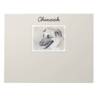 Chinook (Dropped Ears) Painting - Original Dog Art Notepad