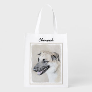 Chinook (Dropped Ears) Painting - Original Dog Art Reusable Grocery Bag