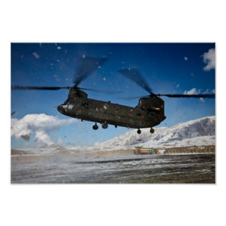 Chinook Helicopter in Snow Posters