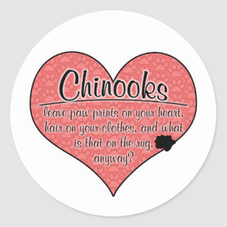 Chinook Paw Prints Dog Humor Round Sticker