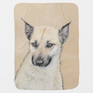 Chinook (Pointed Ears) Painting - Original Dog Art Baby Blanket