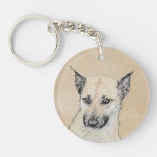 Chinook (Pointed Ears) Painting - Original Dog Art Keychain