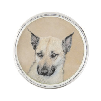 Chinook (Pointed Ears) Painting - Original Dog Art Lapel Pin