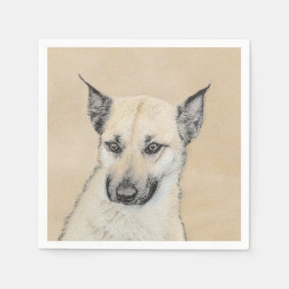 Chinook (Pointed Ears) Painting - Original Dog Art Napkin