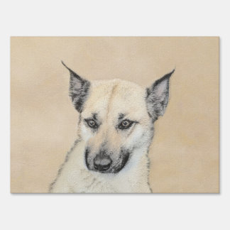 Chinook (Pointed Ears) Painting - Original Dog Art Sign