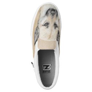 Chinook (Pointed Ears) Painting - Original Dog Art Slip-On Sneakers